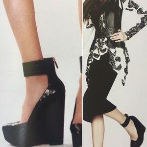 BCBG Platform Wedges with Ankle Cuff - Black